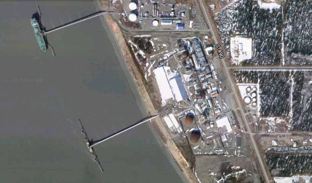 Satellite view of Nikiski's agrium fertilizer plant on the Kenai Peninsula. Image-Google Maps