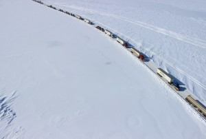 Commercial traffic moving along the Dalton Highway on Tuesday. Image-ADOT&PF