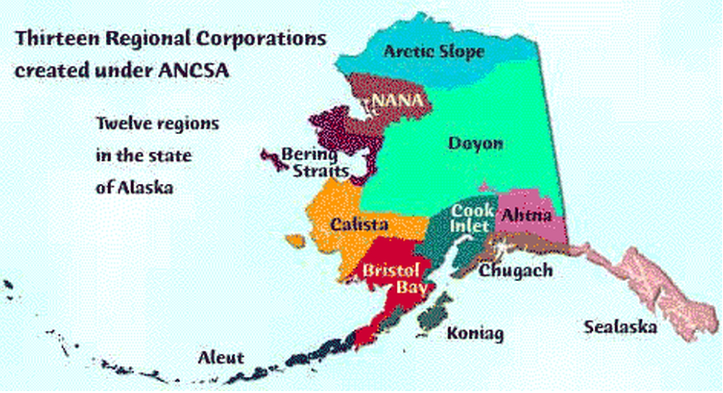 Alaska Native Regional Corporation map. Image-DEC