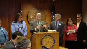 Governor Walker discussing the signing of the Emergency Adoption Regulations on Thursday. Image-State of Alaska