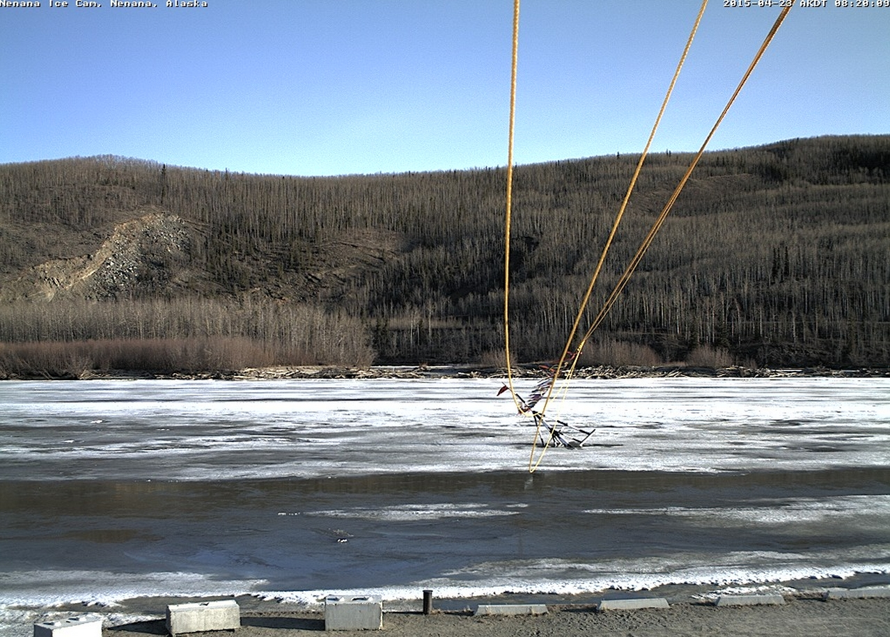 The Nenana Ice Classic tripod began tipping on Monday but continues to hold fast. Image-Nenana Ice Classic