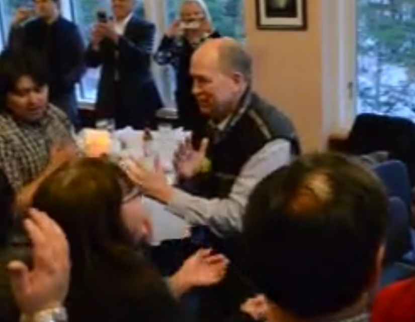 Governor Walker dancing at his adoption ceremony on Friday. Image-State of Alaska