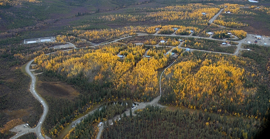 Aerial view of the community of Alatna. Image-Bill Raften | US Fish and Wildlife Service