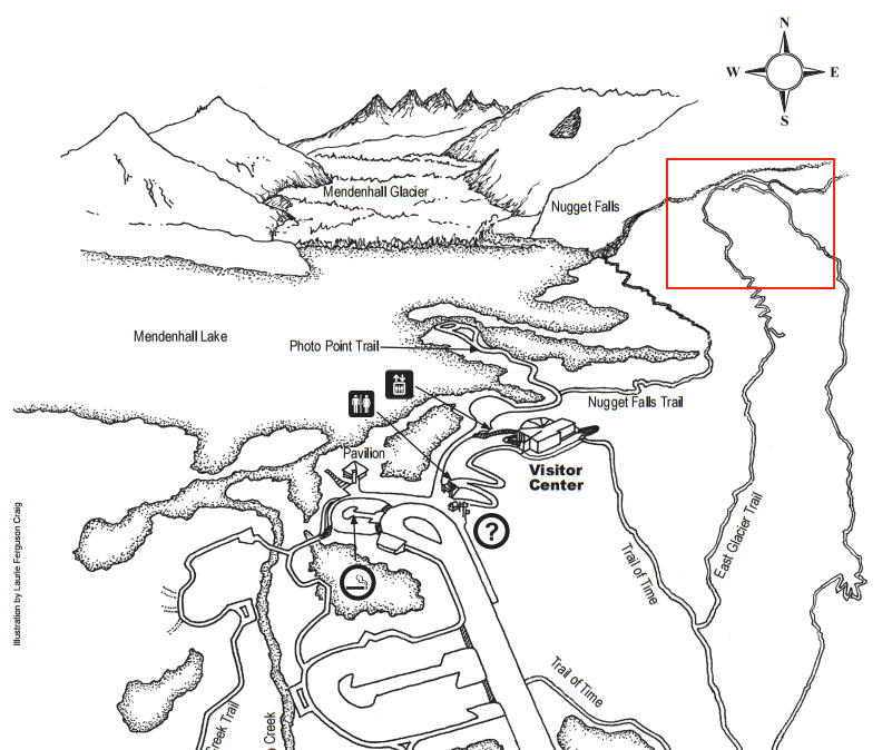 A search ensued after hikers on the East Glacier Trail (red square) near Nugget Falls heard an unidentified male voice yelling for help. Image-Mendenhall Glacier Visitor's Center map
