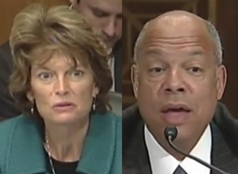"Senator Murkowski (L) asked Secretary of DHS Jeh Johnson(R) what he might do to ""step it up"" in the Arctic on Wednesday."