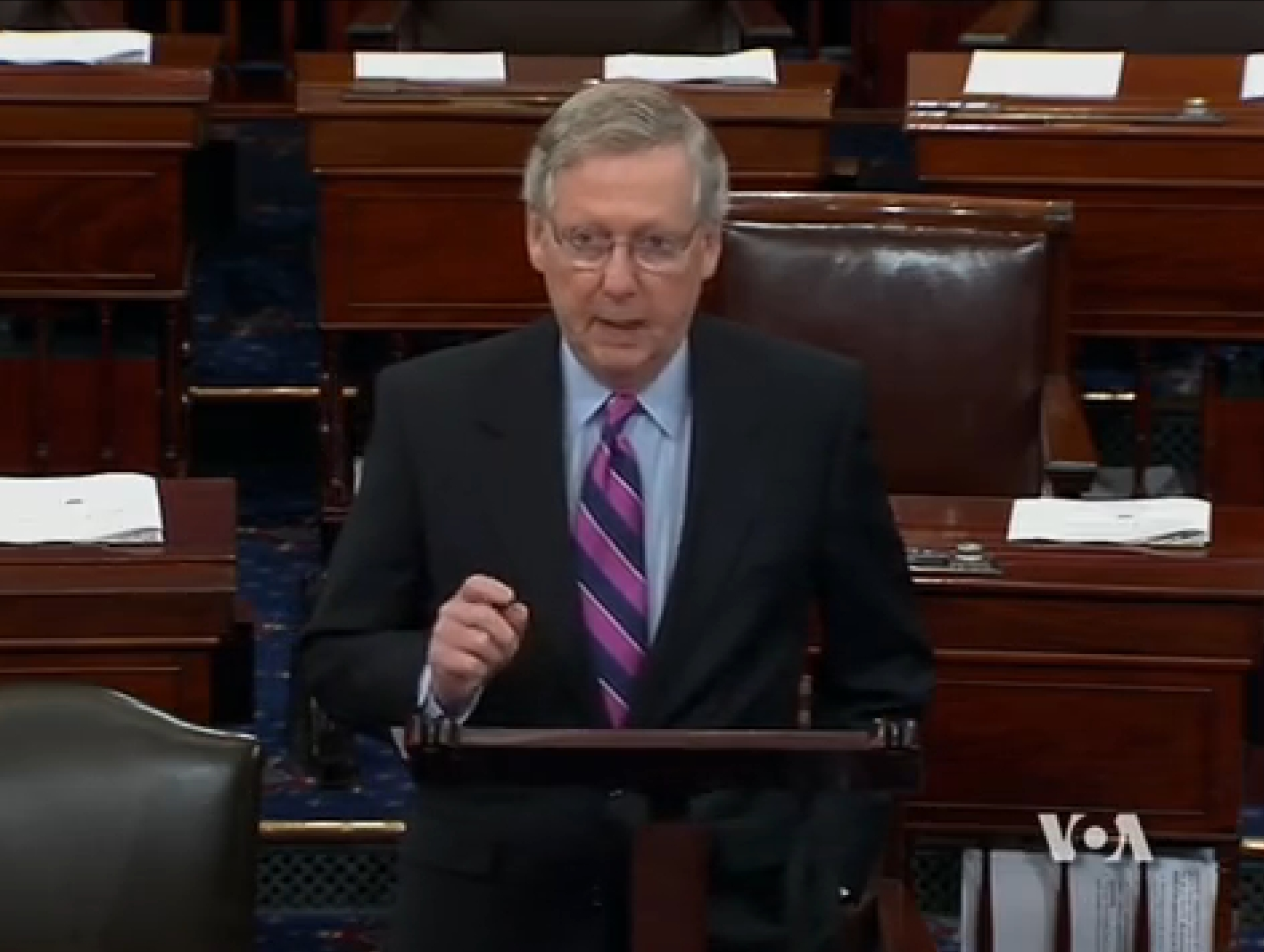Senate Majority Leader Mitch McConnell speaking to congress on the nuclear negotiations with Iran. Image-VOA