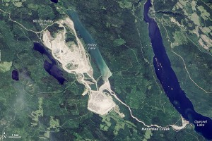 Satellite imagery of Mount Polley Mine. The mine breached in August spilling contaminated water into lakes nearby. Image-NASA