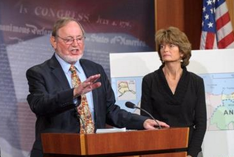 Senator Murkowski and Representative Don Young at a January press conference. Image-Rep. Young
