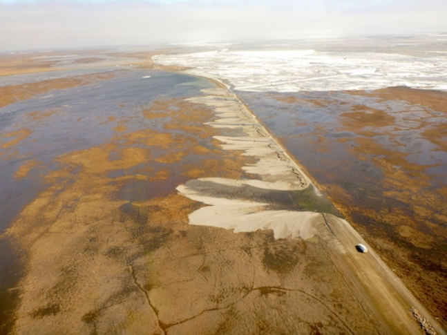 Aerial of the Dalton Highway shows receding water. ADOT&PF photo.