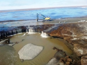 Repair work progresses on the Dalton Highway, Mile 413, in this aerial photo from Thursday, May 28. ADOT&PF photo.