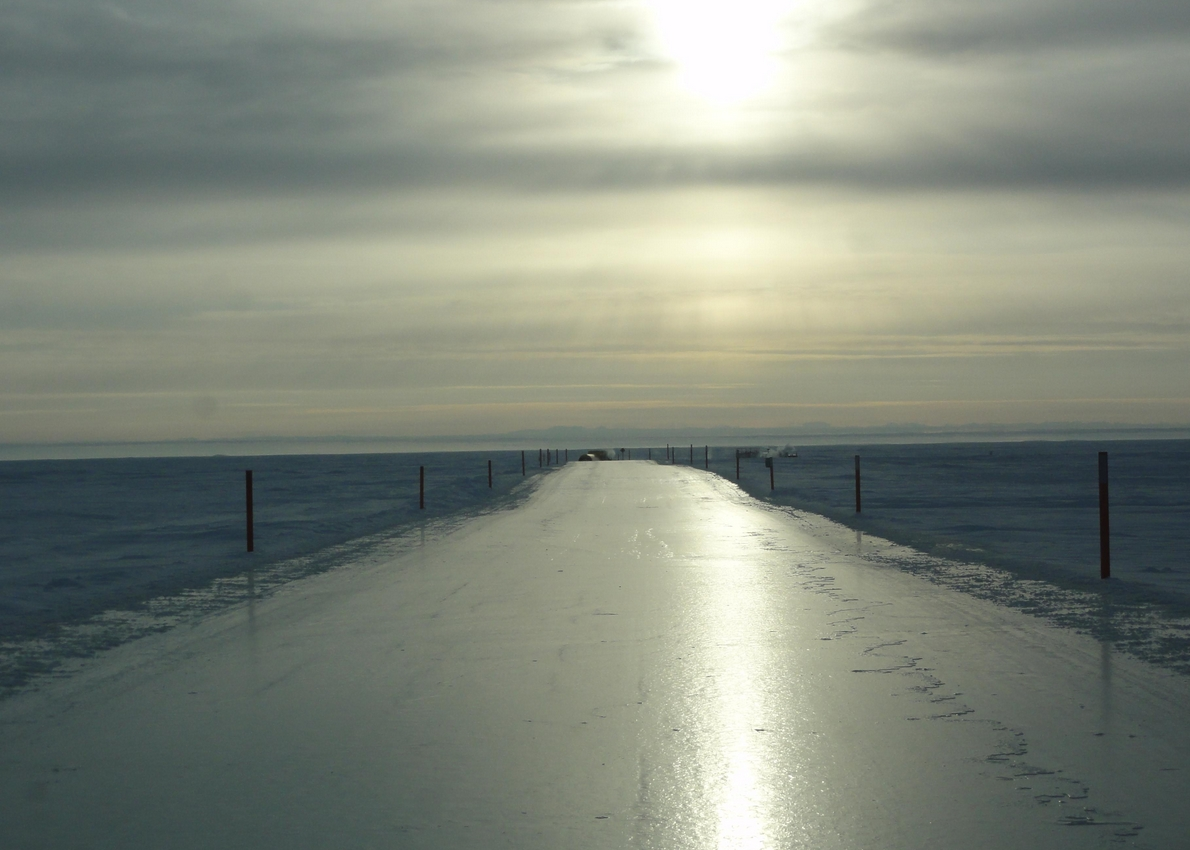 A completed ice road. Photo courtesy of Alaska Department of Natural Resources Division of Mining, Land & Water