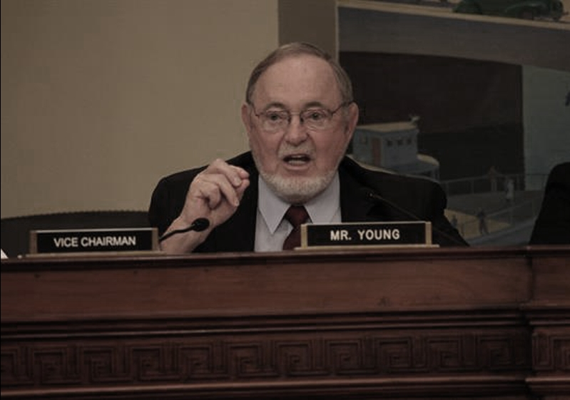 Congressman Young discussing Arctic development in the Energy and Mineral Resources Subcommittee. Image-Office of Representative Don Young