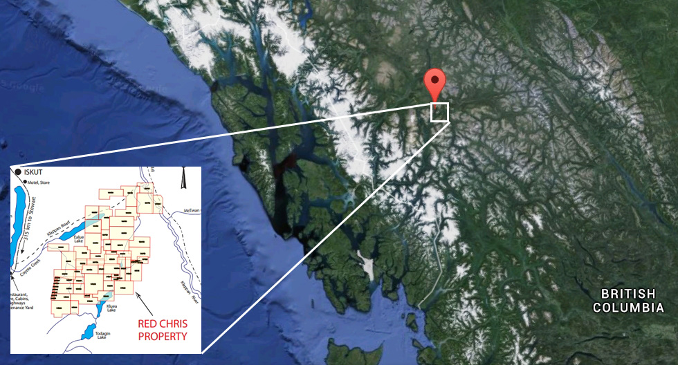 Red Chris mining claims at the head waters of the Stikine River. Image-Google maps/Imperial mining