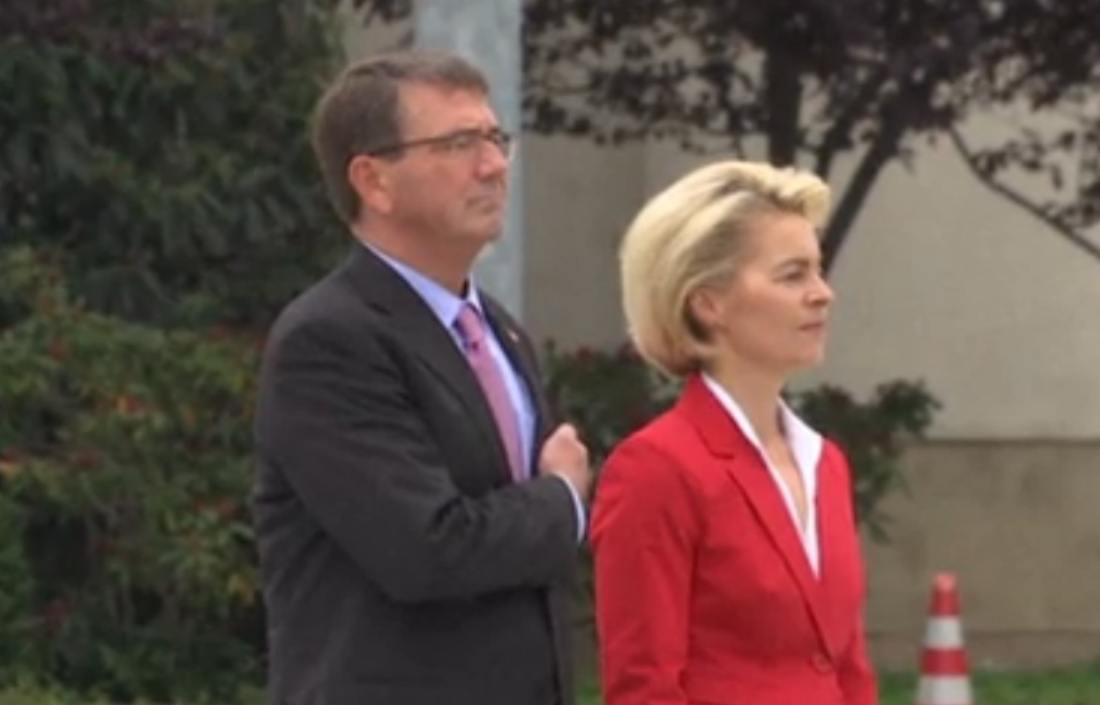 US Secretary of Defense Ash Carter and German minster of defense Ursula von der Leyen visit the Holocaust Memorial on Monday.