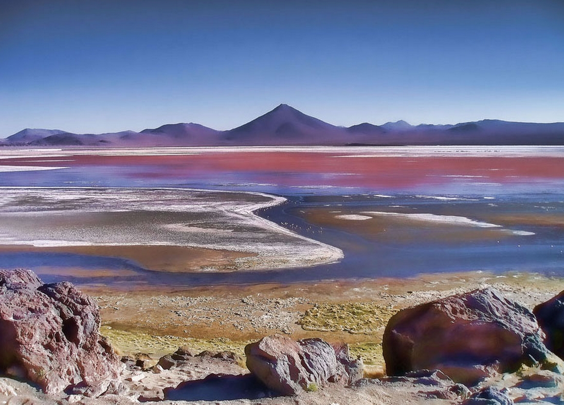 Laguna Colorada is a shallow salt lake in the southwest of Bolivia. One of several places on Earth whose colors are affected by nonphotosynthetic pigments. UW doctoral student Eddie Schwieterman has published research on how such nonphotosynthetic biosignatures might appear on exoplanets, or those outside our solar system. Noemí Galera / Flickr