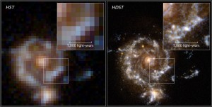 A simulation of the greater image resolution of the High-Definition Space Telescope (right) compared to the Hubble Space Telescope (left).D. Ceverino, C. Moody, G. Snyder and Z. Levay.