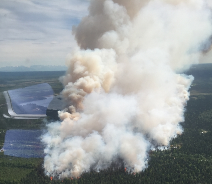 An aerial photograph of the Sockeye Fire burning north of Willow. Photo by Division of Forestry Air Attack.