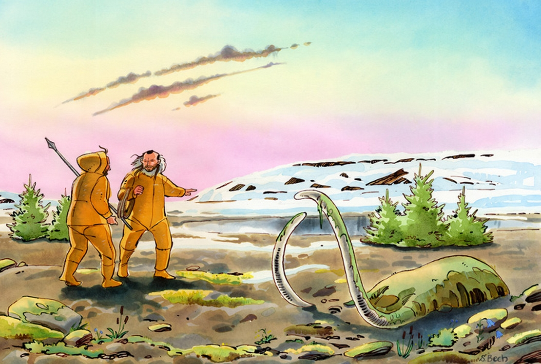 The first Americans arrived in Alaska from Siberia less than 23,000 years ago over a land bridge, called Beringia, during the last Ice Age when mammoths roamed widely. (Artwork by Sussi Bech)
