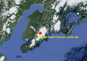 Pilot, Joshua Mastre, crashed his aircraft near Dinglestadt Glacier, but failed to report the incident troopers say. Image-Google maps