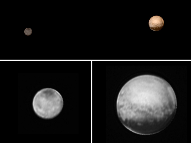 New Horizons was about 3.7 million miles (6 million kilometers) from Pluto and Charon when it snapped this portrait late on July 8, 2015, color information obtained earlier in the mission from the Ralph instrument has been added(top). Image of Charon (left) and Pluto (right) only from the New Horizons' Long Range Reconnaissance Imager (LORRI), July 8, 2015. Credits: NASA-JHUAPL-SWRI