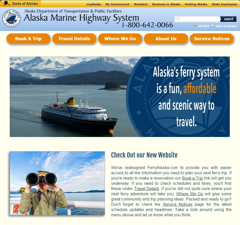 FerryAlaska.com has been redesigned by AMHS staff. Image-FerryAlaska.com