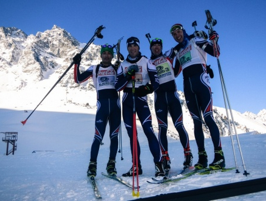 Members of the United States National Guard Biathlon Team gather after finishing third in the patrol race during the South American Military Ski Championships and International Ski Competition at the Army Mountain School in Portillo, Chile.(Photo courtesy of Lt. Col. Stephen Wilson)
