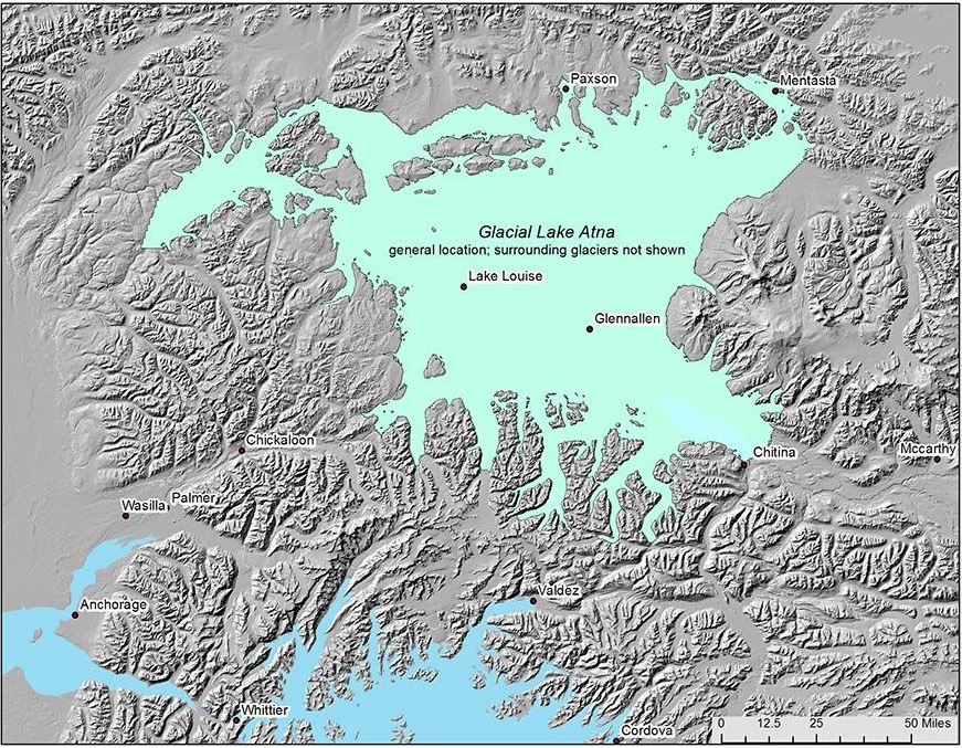 The possible boundaries of ancient Lake Atna, a giant water body that existed thousands of years ago. Courtesy of Michael Wiedmer.