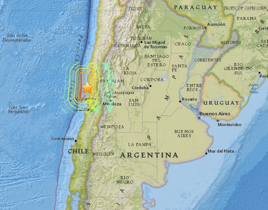 A massive 8.3 magnitude earthquake, and several powerful aftershocks hit the South American country of Chile this evening. Image-USGS