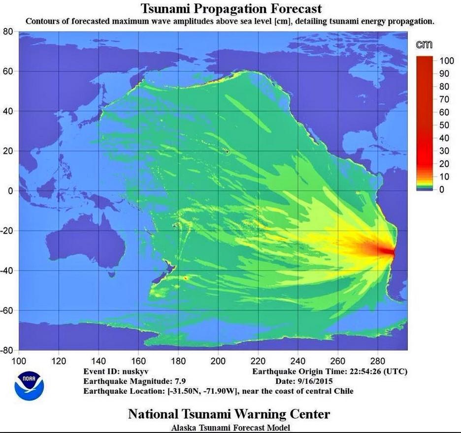 The National Tsunami Warning Centers tsunami forecast. Image-NOAA