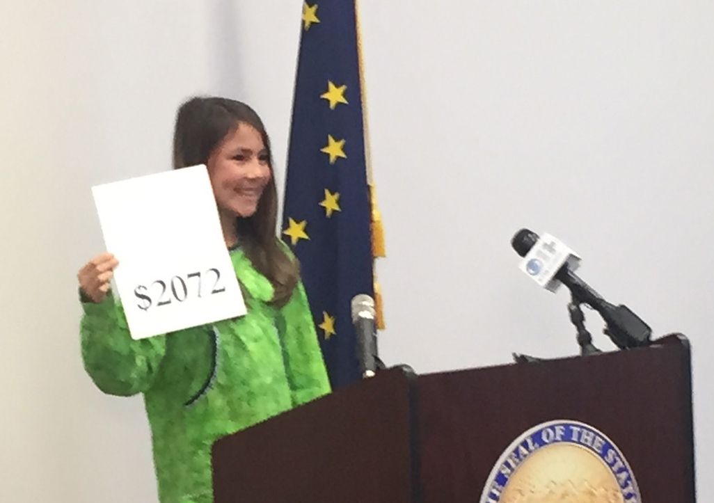 This year, seventh grade Palmer Middle School student, Shania Sommer, announced this year's PFD amount. Image-State of Alaska