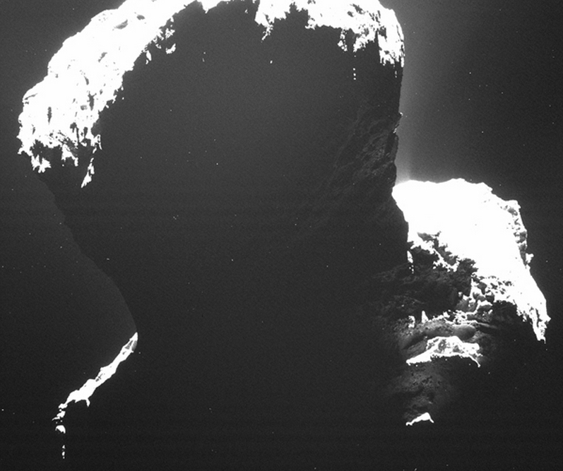 Image of the southern polar regions of comet 67P/Churyumov-Gerasimenkotaken was taken by Rosetta's Optical, Spectroscopic, and Infrared Remote Imaging System (OSIRIS) on September 29, 2014. Image credit: ESA/Rosetta/MPS for OSIRIS Team