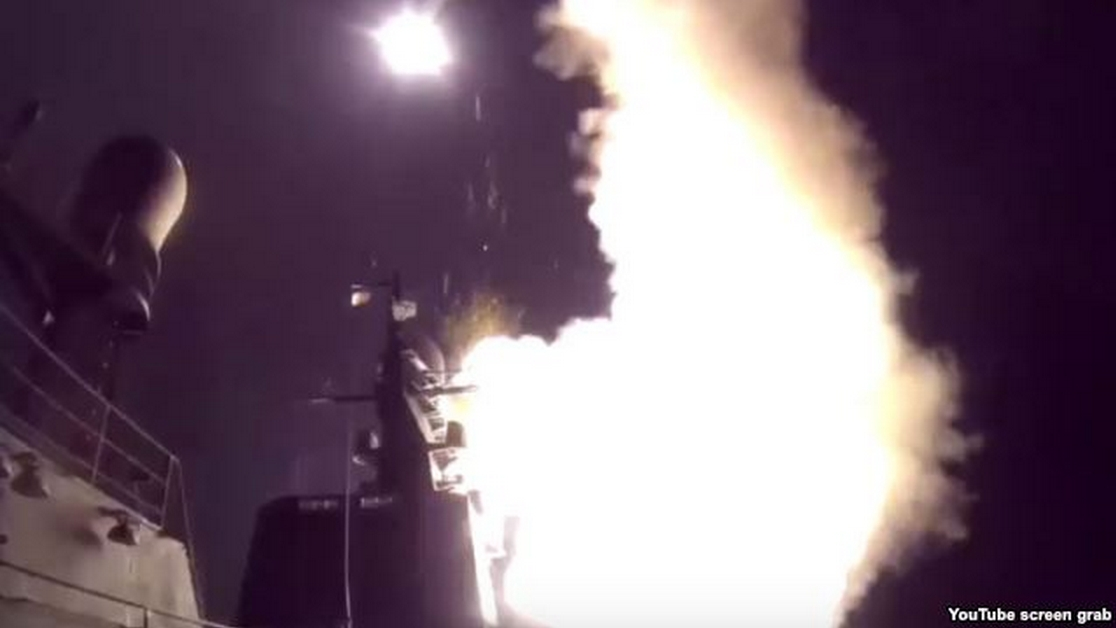 Image from video shows night ship strike group of Russian Navy launching cruise missiles against ISIS infrastructural facilities in Syria, Oct. 7, 2015.
