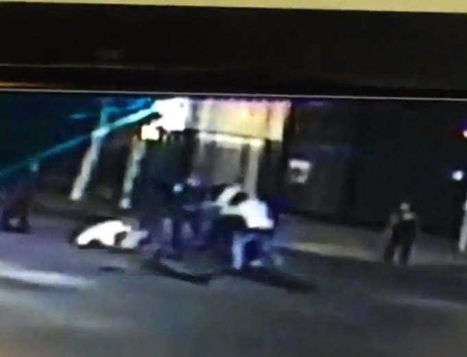 Screen-grab of surveillance video of Spencer Stone stabbing in Sacramento on Thursday morning.