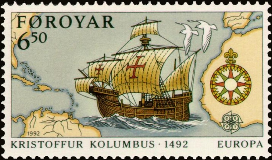 Postage stamp issued by the Faroe Islands commemorating the discovery of America. Image-Public Domain