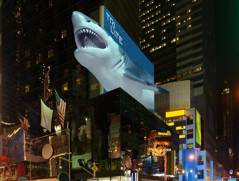 The billboard of the future: A large-scale glasses-free 3D display. (Image: TriLite)