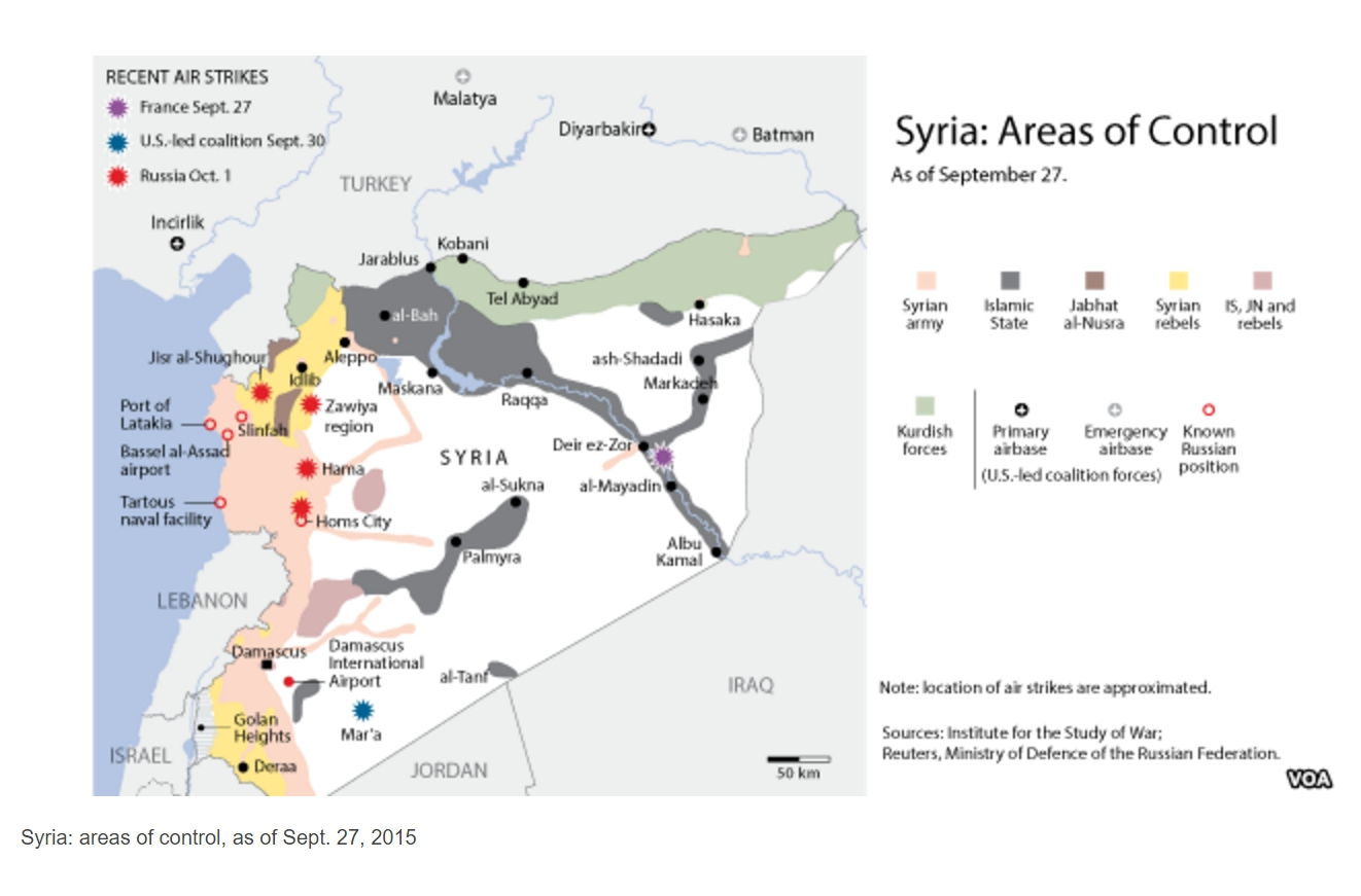 Syria: areas of control, as of Sept. 27, 2015