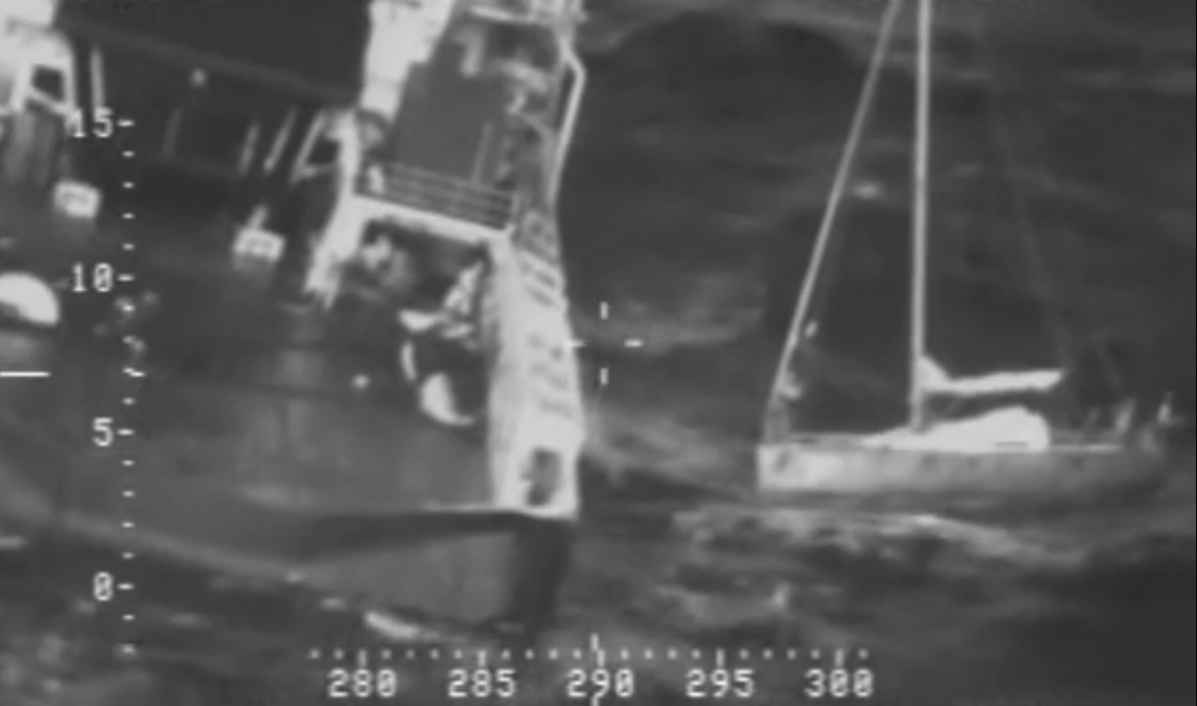 Motor vessel Tor Viking rescues a distressed mariner from his disabled 30-foot sailboat approximately 400 miles south of Cold Bay, Alaska, Oct. 20, 2015. The mariner alerted the U.S. Coast Guard with his emergency position indicating radio beacon. Image-USCG