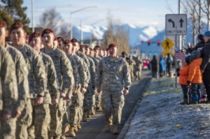 Members of the 4th Infantry Brigade Combat Team (Airborne), 25th Infantry Division participated in Anchorage's first-ever Veterans Day Parade on Nov. 7, 2015.(U.S. Air National Guard photo by Tech. Sgt. N. Alicia Halla/Released)