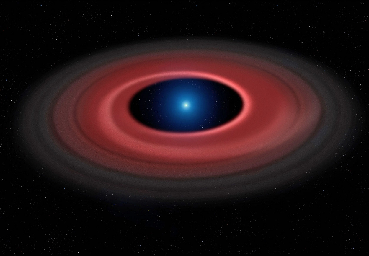 Artist's impression of the glowing disc of material around the white dwarf SDSS J1228+1040
