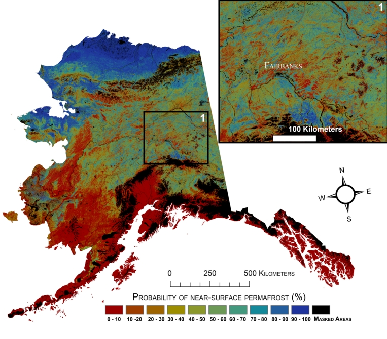 Current probability of near-surface permafrost in Alaska. Image-USGS