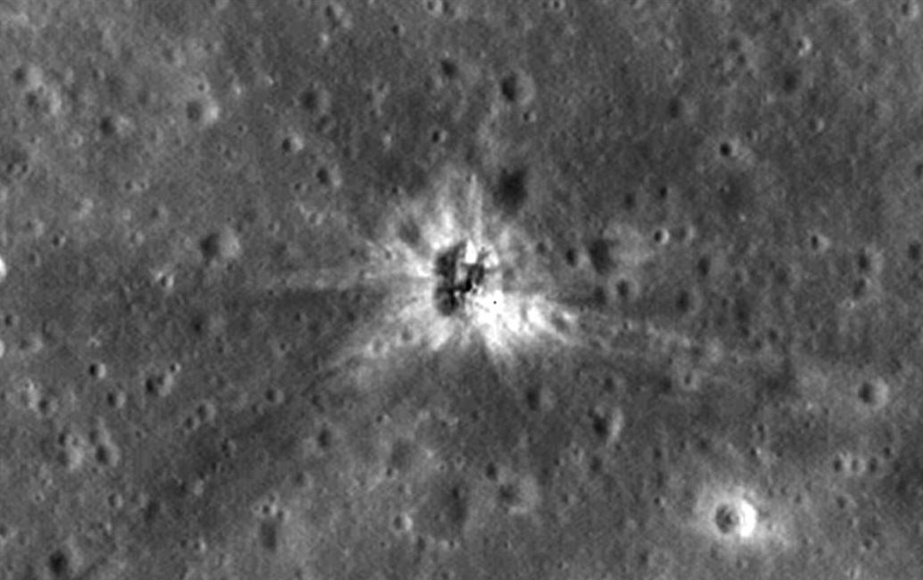 Image of Apollo 16 impact site on the moon. Image credit: NASA/Goddard/Arizona State University