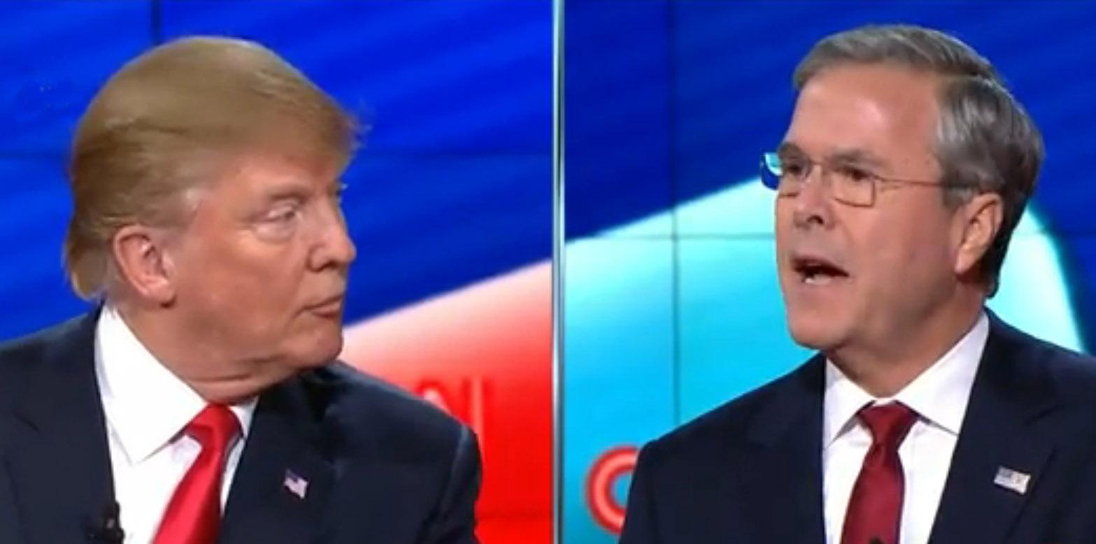 Donald Trump (r) and Jeb Bush (l) traded barbs at last night's Las Vegas Republican debate. Image-CNN video screengrab