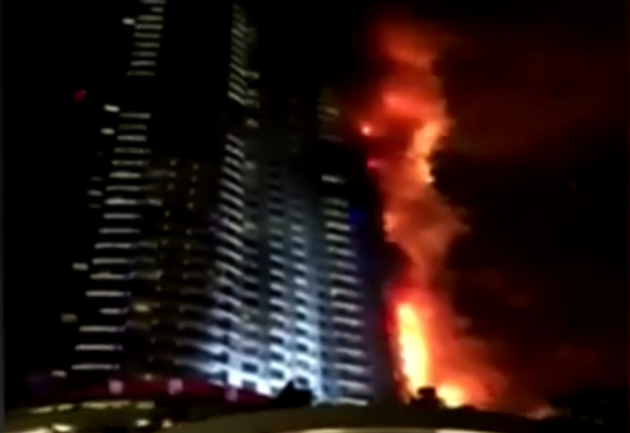 Fire engulfed the 63-story Dubai hotel on New Years night. Image-VOA