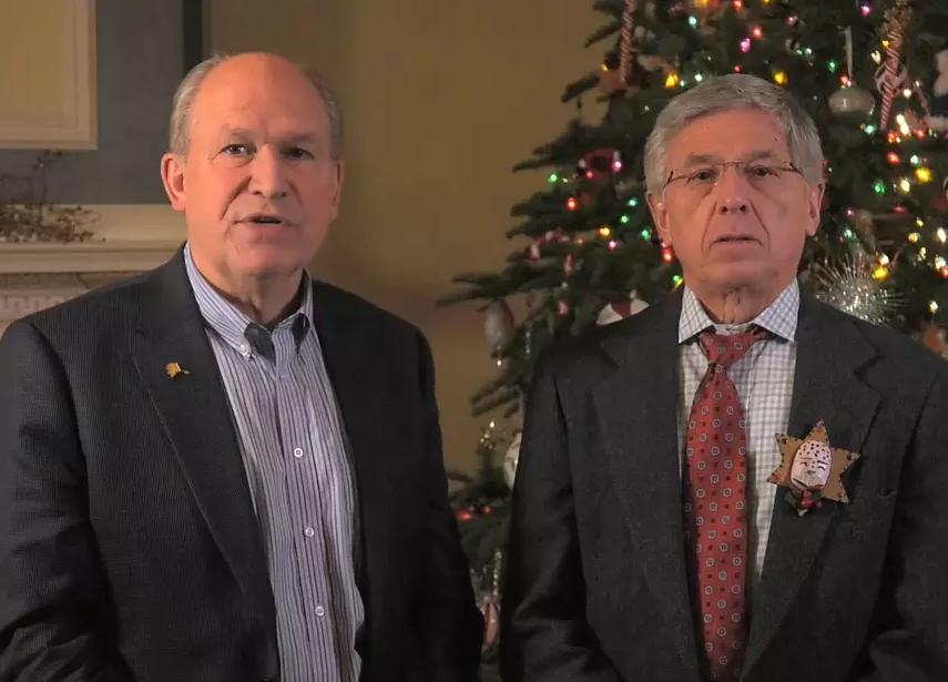 Governor Walker and Lt. Governor Mallott greeting Alaskans on December 24th. Image-State of Alaska