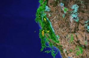 Radar image of El Nino-induced storm over California