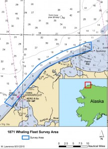 This map shows the area that was surveyed during NOAA's Lost Whaling Fleets expedition. (Credit: NOAA)