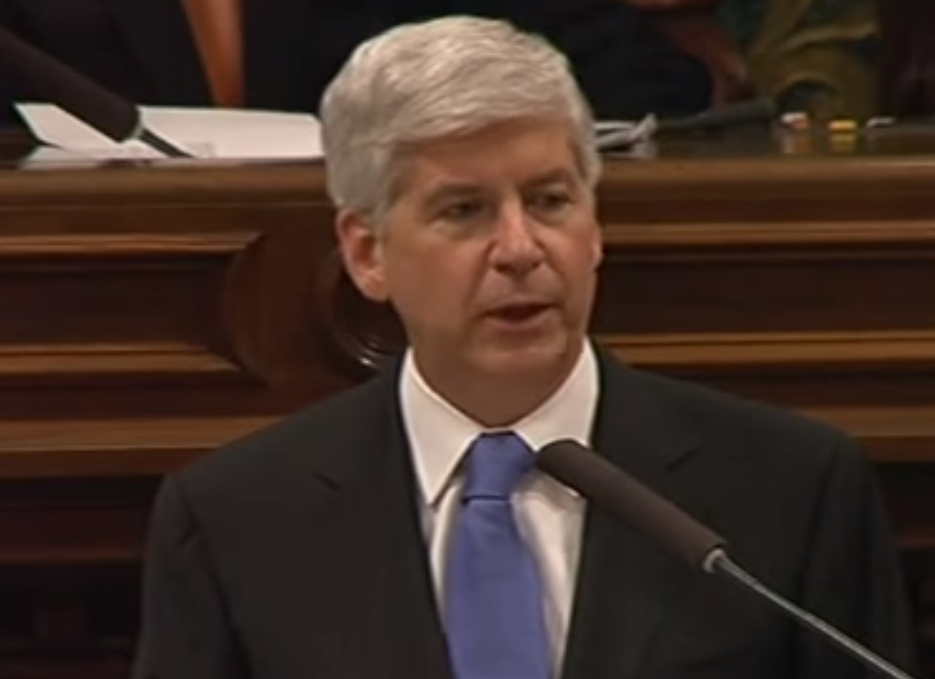 Michigan Governor Rick Snyder making his Tuesday night State of the State speech