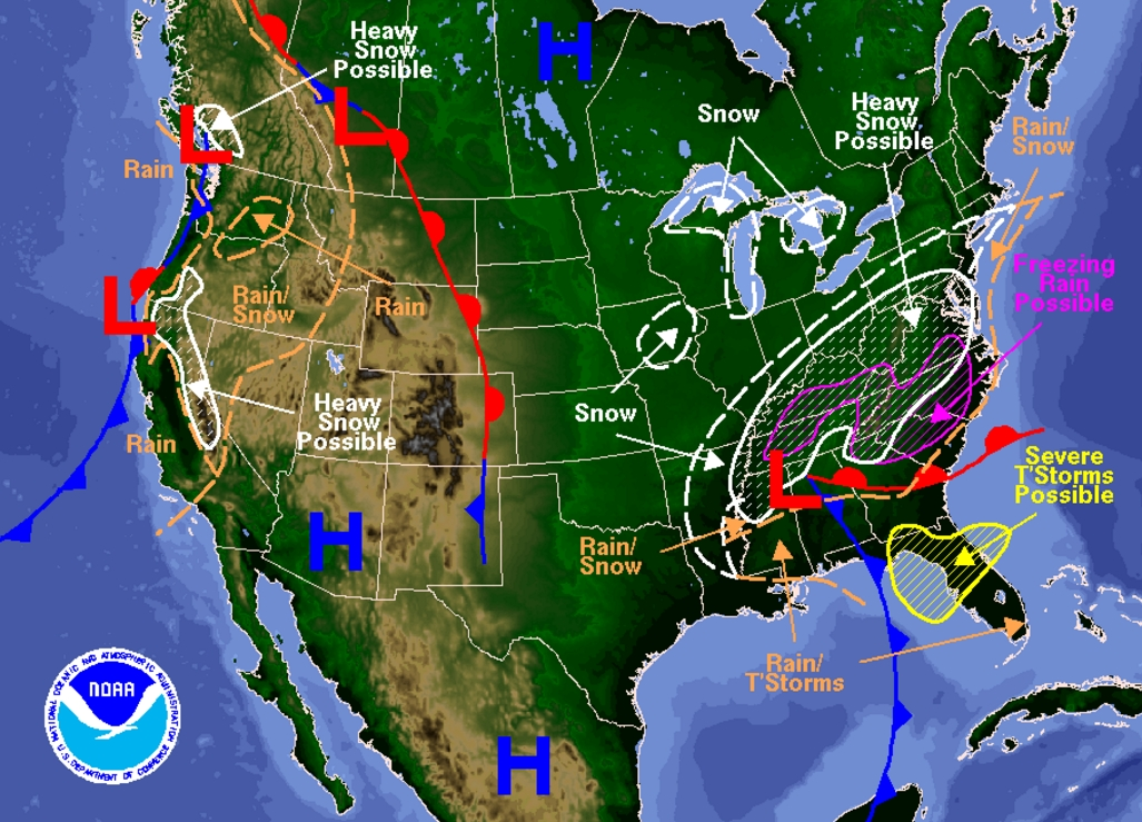 The East Coast is preparing for possible heavy snow. Image-National Weather Service
