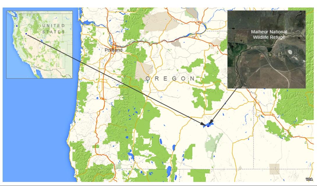 Location of Malheur National Wildlife Refuge in Oregon. Image-VOA