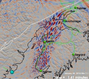 A frame from Tape's simulations of the 7.1 earthquake that shows the shape of Cook Inlet Basin and the dramatic shaking within. Courtesy of Carl Tape.